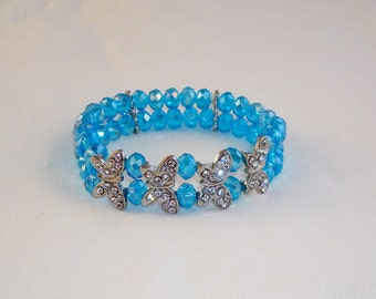 Blue Faceted Glass Beads Double Strand Stretchable Bracelet