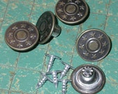 15 Tack Buttons, metal, star bullseye,  jean jacket type, no sew, Bronze Tone,