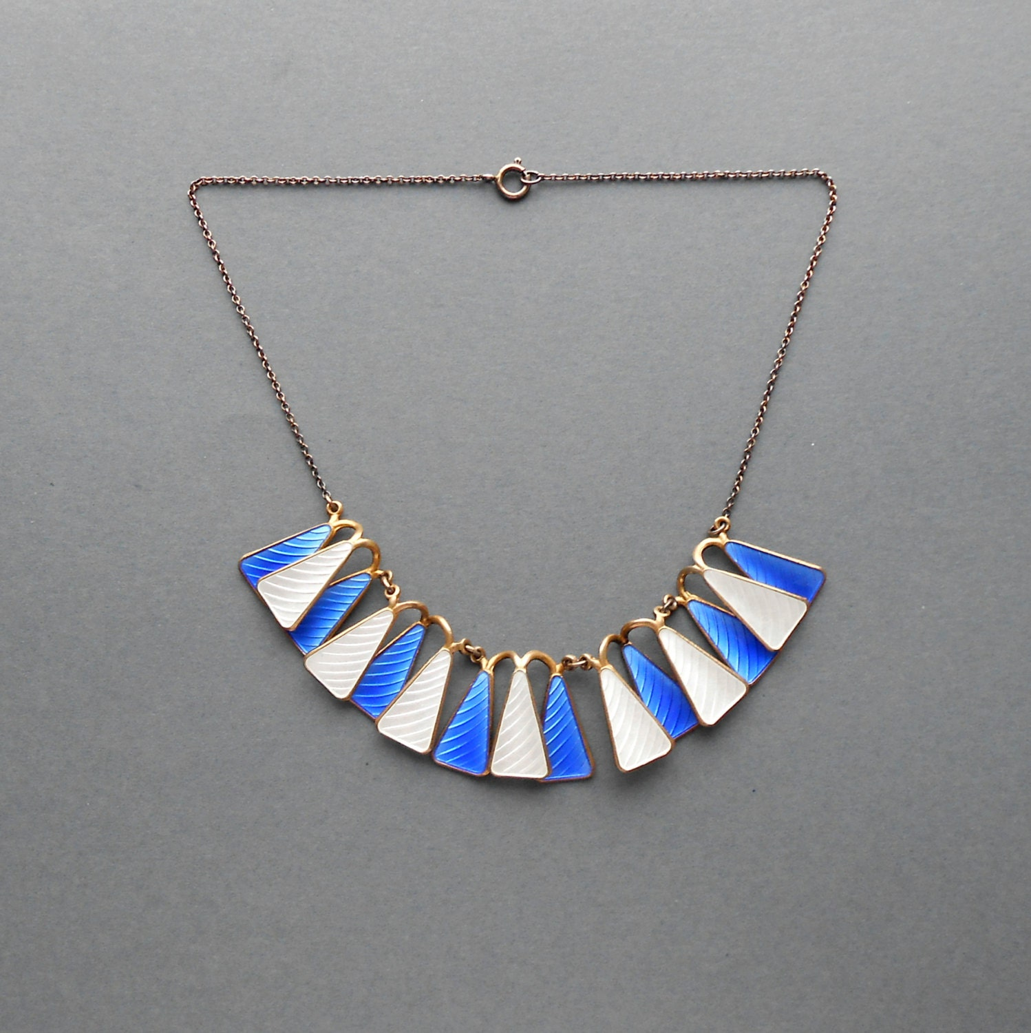 Scandinavian Modernist Jewelry. Sterling Enamel Necklace.