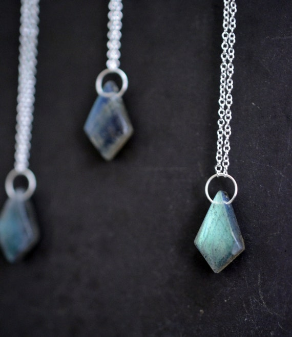 There is a song for you...single labradorite necklace in sterling silver