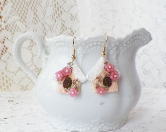 Little Blush Peach Birdhouse Beaded Felt Earrings with Glass Bead Flowers, Dangling Pierced