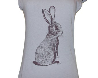 Cottontail Rabbit tshirt - eco brown ink screenprint on slate grey cotton scoop neck - womens sizes S, L