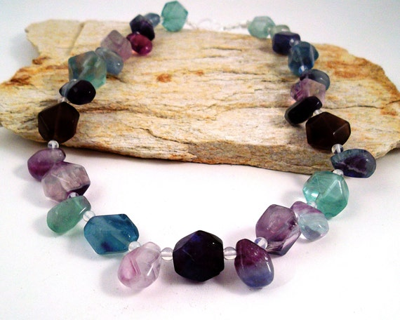 Fluorite Necklace with Glass Clasp, Beaded Fluorite Jewelry, Metal-Free