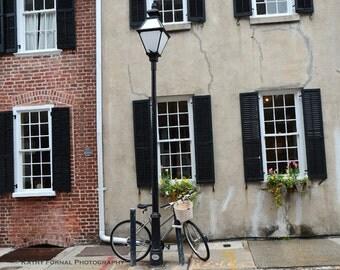 Charleston Photography, Charleston Street Lamp Bicycle Scene, Charleston French Quarter Bicycle Print, South Carolina Fine Art Photography