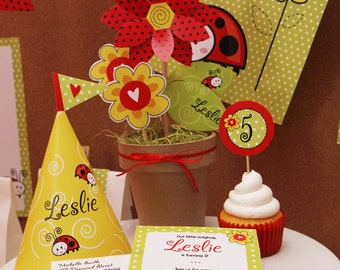 Red Ladybug Love DELUXE PERSONALIZED Party Kit-Printable pdf Complete Set