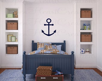 Boat Anchor Vinyl Wall Decal - Nautical Wall Decals for Boys Room 22H NW0036