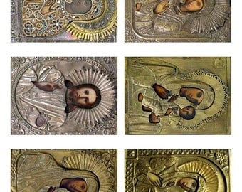 Digital Download ATC Vintage Icons Religious Collage Sheet  ACEO Backgrounds , Printables, Downloads, DigitalCollageSheets