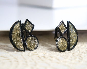Vintage Earrings Glitter Earrings Black Art Deco Clip Ons Earrings Black Enamel Black and Gold