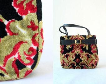 Vintage 70's Floral Tapestry Chenille Purse Carpet Bag / Boho Chic
