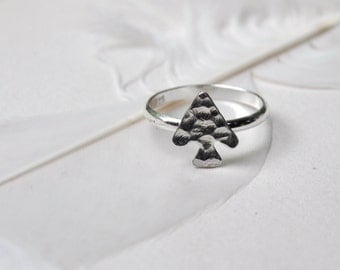 Cave Arrow Stacker or Upper Knuckle Silver Ring