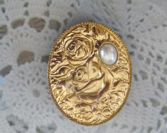 Vintage Faux Pearl Rose Brooch