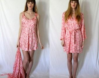 Valentino Pink Hearts Peignoir - Nightie Night Gown and Robe - Silk - XS  Petite