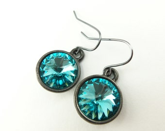 Turquoise Drop Earrings Crystal Turquoise Earrings Swarovski Crystal Drop Earrings Dark Silver Gunmetal