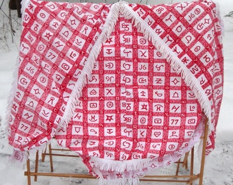 Cowboy Southwestern Fabric Cattle Brand Vintage 1950s Picnic Table Cloth and Seat Covers Till Goodan Fabric