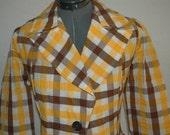 Vintage 60's MOD Blazer / Jacket  Yellow and Brown Plaid    Size M