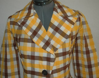 Vintage 60's MOD Blazer / Jacket  Yellow and Brown Plaid    Size M