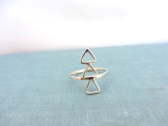 Sterling silver triple delta triangle band ring, Statement ring.
