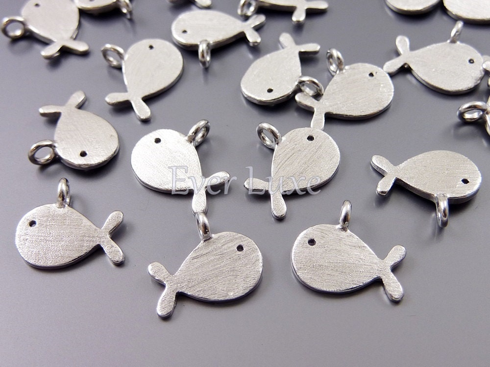 4 gold fish charms satin silver metal charms necklace