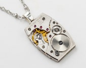 Steampunk Necklace vintage Rare Waltham Premiere silver tank style watch movement pendant unisex men Statement Gift Steampunk jewelry