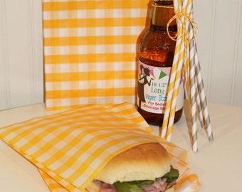 Favor Bag, Sandwich Bags, 20 Yellow Gingham Sandwich Bags, Treat Bag, Hamburger Bag, Party Favor Bags, Wedding Favor, Baby Shower, Birthday