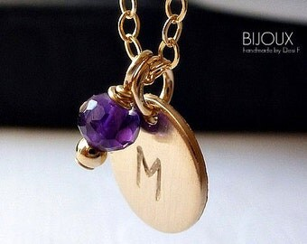 Initial Birthstone Disc Necklace - Amethyst Birthstone for February - 14K Goldfilled