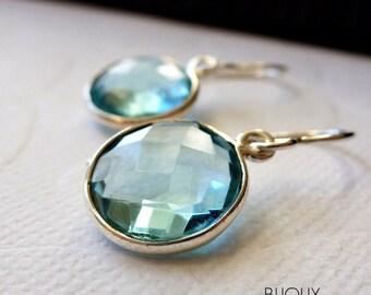 Sky Blue Quartz Bezel Set Earrings - Sterling Silver......LIMITED EDITION