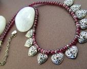 Desire Garnet Necklace - Vintage Gemstone with Sterling Silver Charm Necklace
