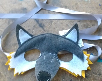 Fox Mask--grey and yellow