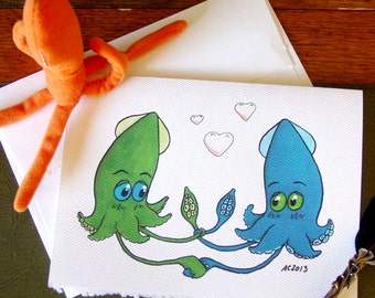 Squid Wedding Card - Tying the Knot - Congratulations on Marriage