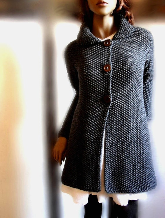 Sweater Coat Knitting Pattern : Items similar to Womens hand knit sweater Merino wool long cardigan coat Char...