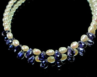 Pearl Choker Necklace with Indigo Blue Iolite Faceted Pear Gems with Genuine Freshwater Cultured Pearls in a Dainty Choker with Sterling