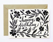 Happy Birthday Linocut Block Print Card