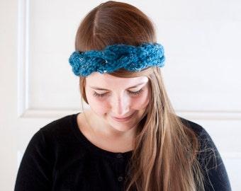 Braid headband in teal blue hand knit narrow cable knit headband cute winter accessory
