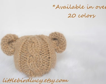 Baby Bear Hat, Cabled, Hand Knitted, Tan, Knit Newborn Infant Photo Prop, Boys Girls, U choose Color, Diaper Cover Available