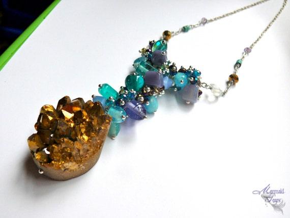 Geode Jewelry - Crystal Druzy Necklace - Boho Gypsy Jewelry - Druzy Geode Necklace - Bohemian Jewelry - Gypsy Boho Jewelry from Hawaii