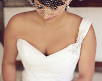 Bandeau Birdcage Veil, Birdcage Veil, Bridal Veil, White, Off White, Ivory, Blush Pink, Champagne -Style 102