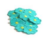 Turquoise Applique, Blue Flower Applique, Hippie Flowers, 1960s Flowers, Embroidered Applique, Turquoise Blue, Patch, Lot of 12, Yellow, Sew