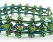 Porte Coliz right angle weave bracelet and earrings beadweaving: Instant Downloadable Pattern PDF File