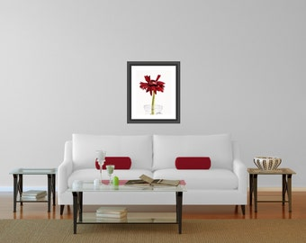 Red Daisy Picture, Gerbera Photography, Kitchen Floral Art, Unframed Office Decoration, 8x10, 8x12, 11x14, 12x18 Inch, Bathroom Wall Accent