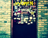 Austin Texas Photo, Fine Art Photography, Womens Bathroom, Door, Dive Bar, Band Stickers, Home Decor, Print, Rock n Roll, Modern Wall Art