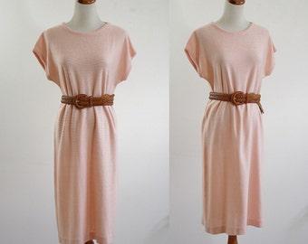 Vintage Knit Dress, Pink Sweater Dress, Pink Shirt Dress, Short Sleeve Sweater Dress, 80s Sweater Dress, Bust 40 Large