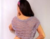 Freshness of Lilac / Lavander Shrug Knit Bolero Short Sleeve S-M-L Wedding Bridal Shrug