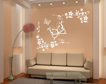 Vinyl Wall Decal Sticker Butterflies and Floral Vines 1118B