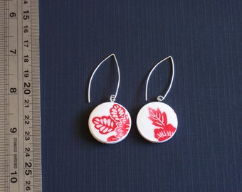 Red and white earrings, Japanese paper and wood - surgical steel, nickel free and lead free ear posts