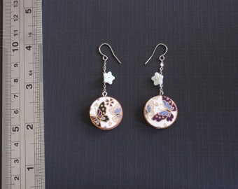 Purple Butterflies Japanese paper, wood and lucite earrings - surgical steel, nickel free and lead free earwires