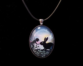 RESERVED For Dee Wallain - Fairy and Rabbit Large Glass Oval Pendant with Black Rubber Necklace