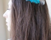 AURORA -- Teal Turquoise Green & White Peacock Feather Bride Something Blue Bridesmaid Wedding Fascinator Bobby Pin or Hair Clip Headpiece