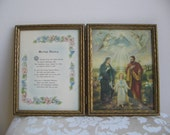 Vintage Marriage Blessing Religious Art Print 1940's Diptych Double Gold Frame, Holy Family God in Heaven Angels, Beautiful Wedding Gift
