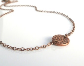 Copper disc necklace - thick hammered round antique copper coin pendant on delicate copper chain - simple and minimalist everyday wear