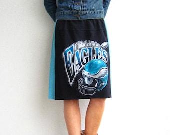Philadelphia Eagles T-Shirt Skirt Women's TShirt Skirt Black Aqua Midnight Green Knee Length Cotton Skirt Autumn Fall Skirt ohzie